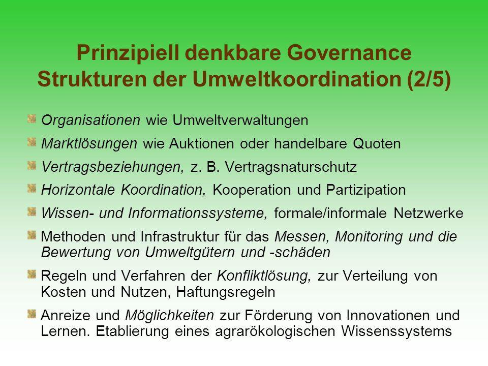 Prinzipiell denkbare Governance Strukturen der Umweltkoordination (2/5) Organisationen wie Umweltverwaltungen Marktlösungen wie Auktionen oder handelb