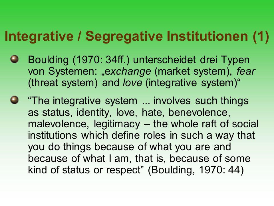 Integrative / Segregative Institutionen (1) Boulding (1970: 34ff.) unterscheidet drei Typen von Systemen: exchange (market system), fear (threat syste