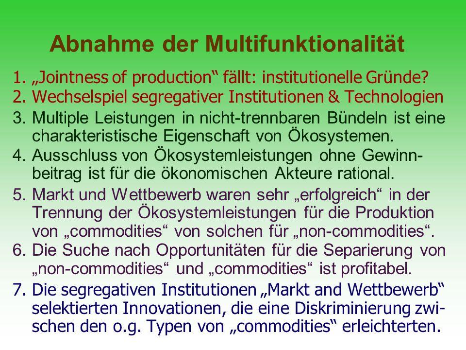 Abnahme der Multifunktionalität 1.Jointness of production fällt: institutionelle Gründe? 2.Wechselspiel segregativer Institutionen & Technologien 3.Mu