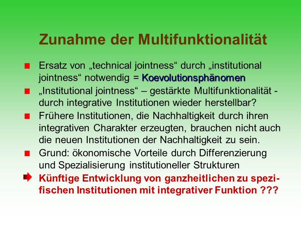Zunahme der Multifunktionalität Koevolutionsphänomen Ersatz von technical jointness durch institutional jointness notwendig = Koevolutionsphänomen Ins