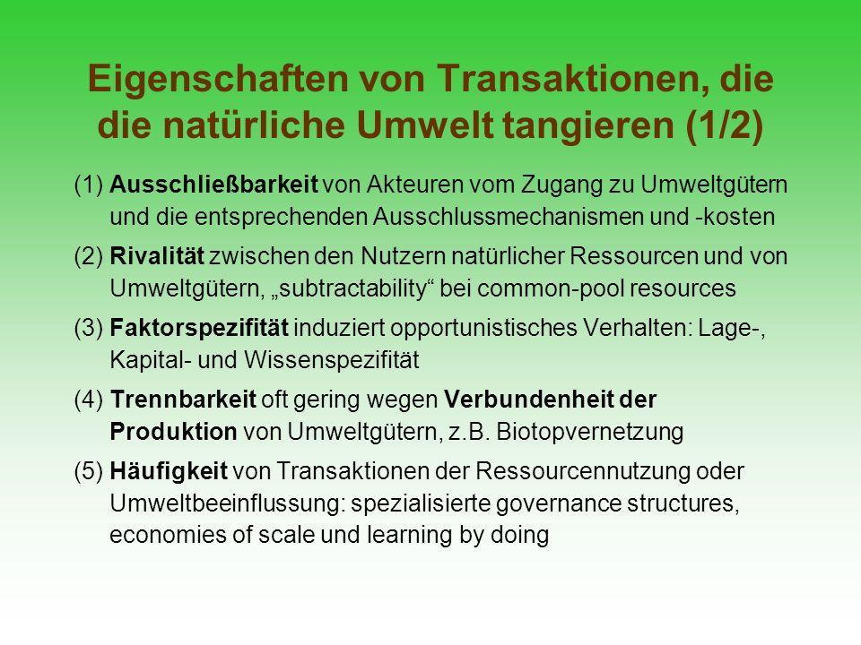 Eigenschaften von Transaktionen, die die natürliche Umwelt tangieren (1/2) (1) Ausschließbarkeit von Akteuren vom Zugang zu Umweltgütern und die entsp