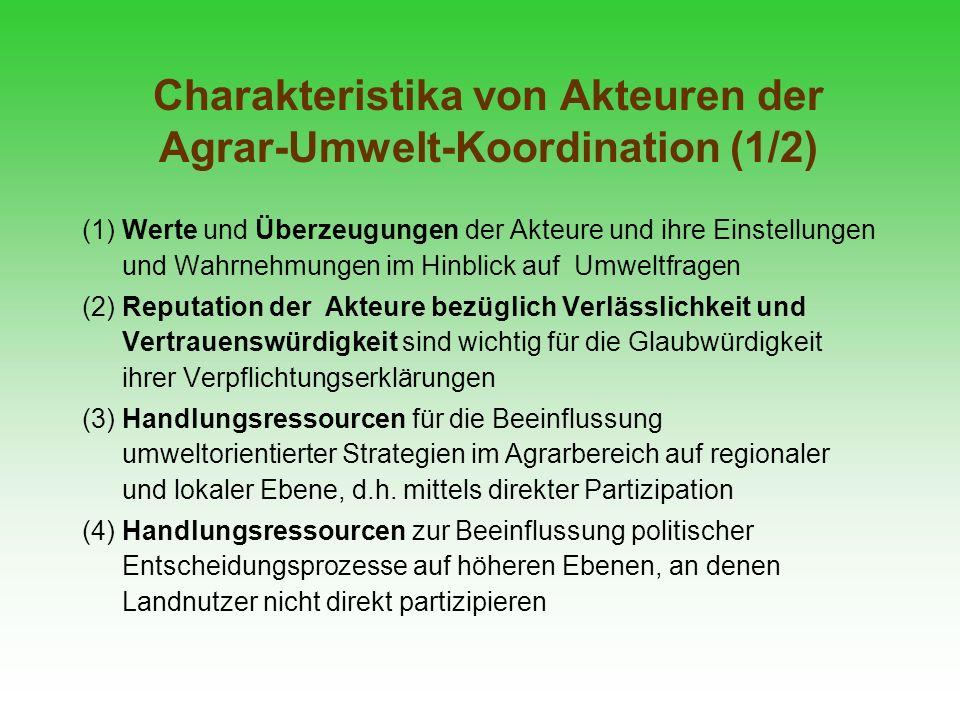 Charakteristika von Akteuren der Agrar-Umwelt-Koordination (1/2) (1) Werte und Überzeugungen der Akteure und ihre Einstellungen und Wahrnehmungen im H