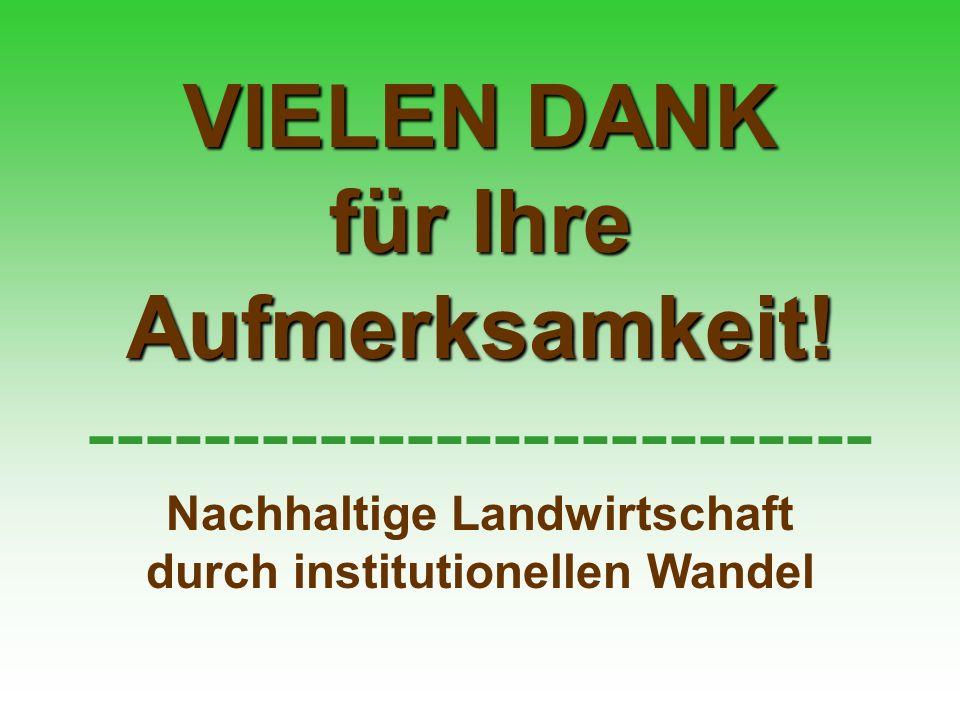 VIELEN DANK für Ihre Aufmerksamkeit! --------------------------- Nachhaltige Landwirtschaft durch institutionellen Wandel