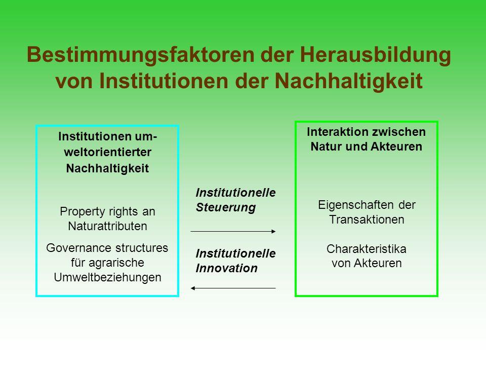 Bestimmungsfaktoren der Herausbildung von Institutionen der Nachhaltigkeit Interaktion zwischen Natur und Akteuren Eigenschaften der Transaktionen Cha