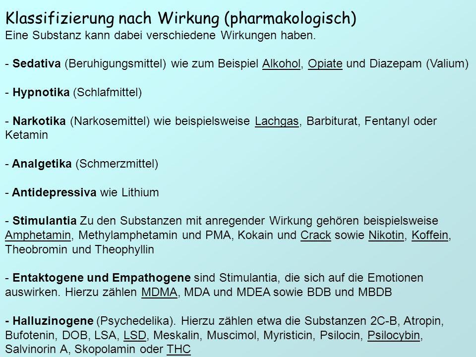 Klassifizierung nach Wirkung (pharmakologisch) Eine Substanz kann dabei verschiedene Wirkungen haben. - Sedativa (Beruhigungsmittel) wie zum Beispiel