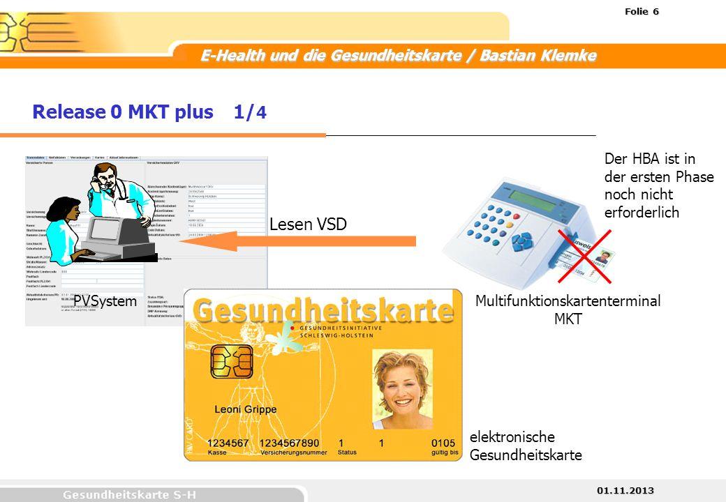 01.11.2013 Folie 6 E-Health und die Gesundheitskarte / Bastian Klemke Lesen VSD Release 0 MKT plus1/ 4 Multifunktionskartenterminal MKT PVSystem elekt