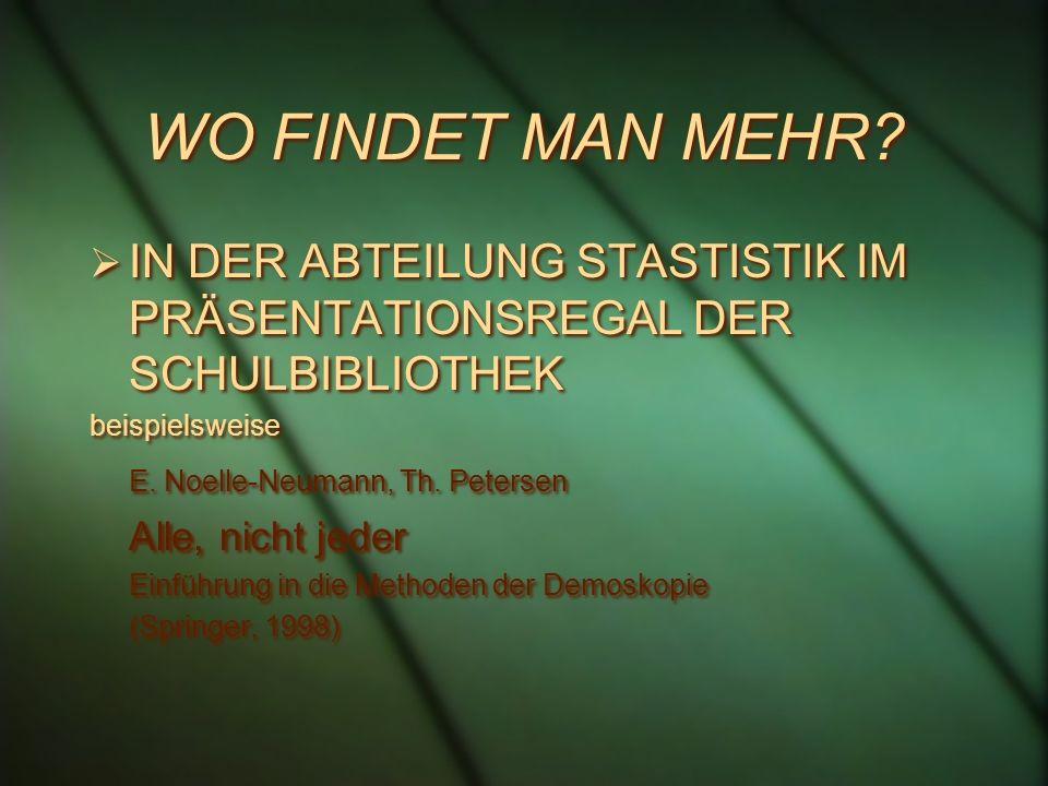 WO FINDET MAN MEHR? IN DER ABTEILUNG STASTISTIK IM PRÄSENTATIONSREGAL DER SCHULBIBLIOTHEK beispielsweise E. Noelle-Neumann, Th. Petersen Alle, nicht j