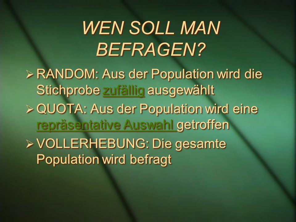 WEN SOLL MAN BEFRAGEN? RANDOM: Aus der Population wird die Stichprobe zufällig ausgewähltzufällig QUOTA: Aus der Population wird eine repräsentative A