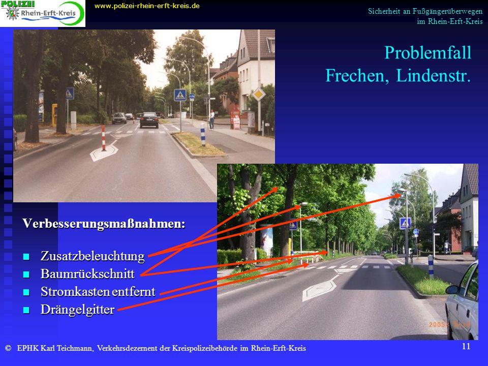11 Problemfall Frechen, Lindenstr. Verbesserungsmaßnahmen: Zusatzbeleuchtung Baumrückschnitt Stromkasten entfernt Drängelgitter www.polizei-rhein-erft