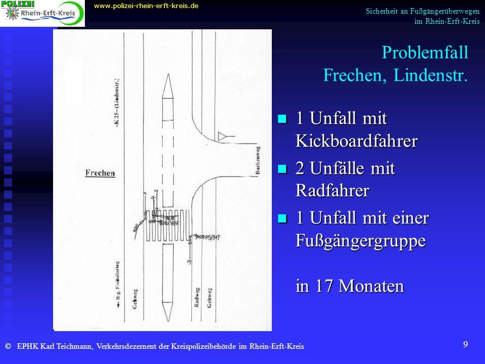 9 Problemfall Frechen, Lindenstr. www.polizei-rhein-erft-kreis.de © EPHK Karl Teichmann, Verkehrsdezernent der Kreispolizeibehörde im Rhein-Erft-Kreis
