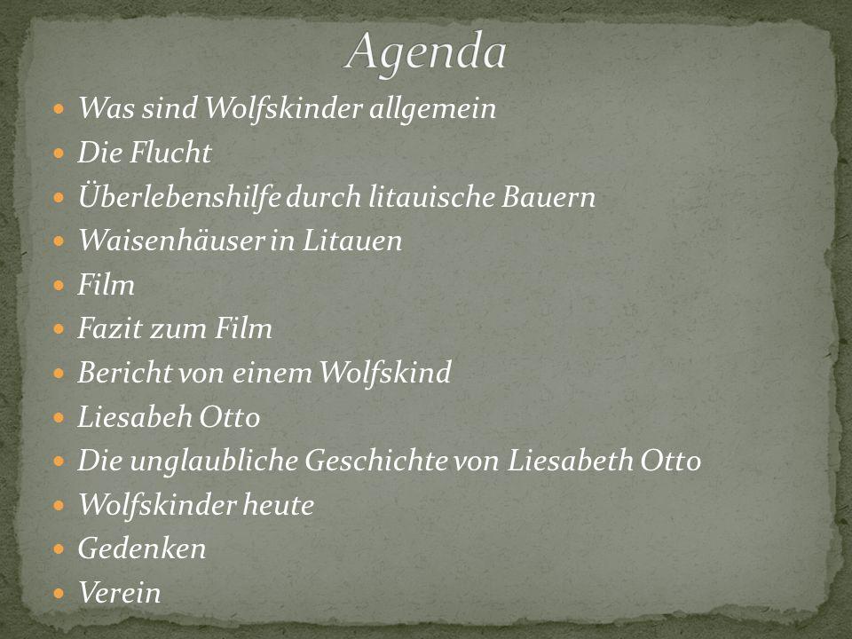 ,, Wolfskinder ist die Bezeichnung für deutsche Kriegswaisen, die nach 1945 auf der Suche nach Lebensmöglichkeiten in außerdeutsche Zusammenhänge gerieten und später als Erwachsene im Ausland (Polen, Litauen, Lettland Estland usw.) unter falscher Identität leben mußten.