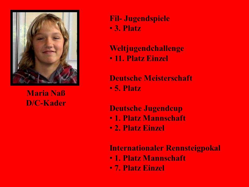Maria Naß D/C-Kader Fil- Jugendspiele 3. Platz Weltjugendchallenge 11. Platz Einzel Deutsche Meisterschaft 5. Platz Deutsche Jugendcup 1. Platz Mannsc