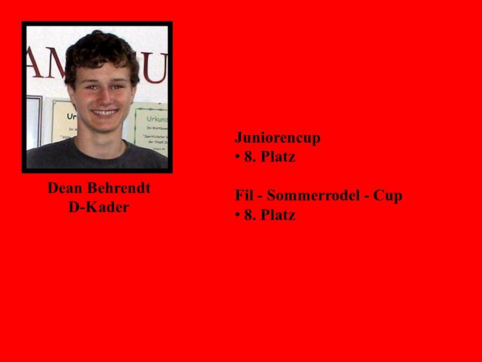 Dean Behrendt D-Kader Juniorencup 8. Platz Fil - Sommerrodel - Cup 8. Platz