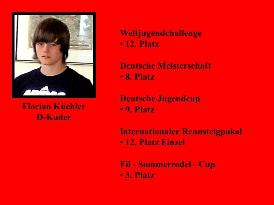 Florian Küchler D-Kader Weltjugendchallenge 12. Platz Deutsche Meisterschaft 8. Platz Deutsche Jugendcup 9. Platz Internationaler Rennsteigpokal 12. P