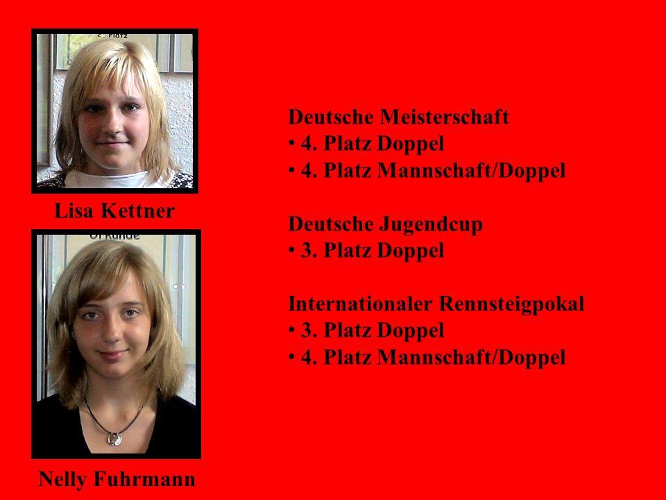 Lisa Kettner Nelly Fuhrmann Deutsche Meisterschaft 4. Platz Doppel 4. Platz Mannschaft/Doppel Deutsche Jugendcup 3. Platz Doppel Internationaler Renns