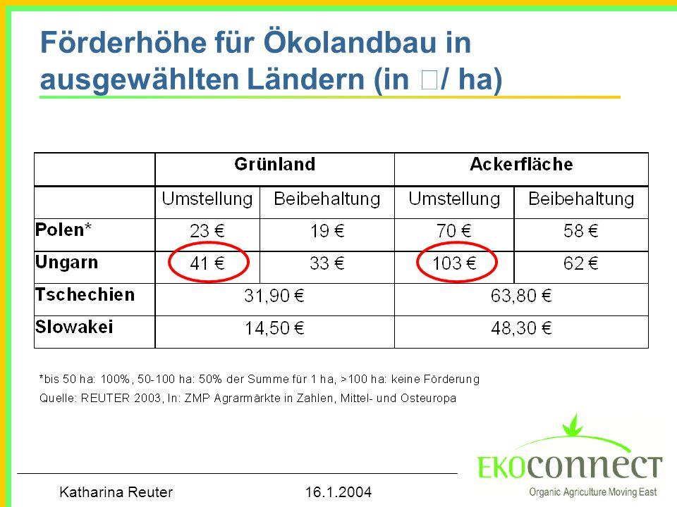 Katharina Reuter 16.1.2004 Gesetzliche Regelungen im Ökolandbau in ausgewählten Ländern, Stand 2003