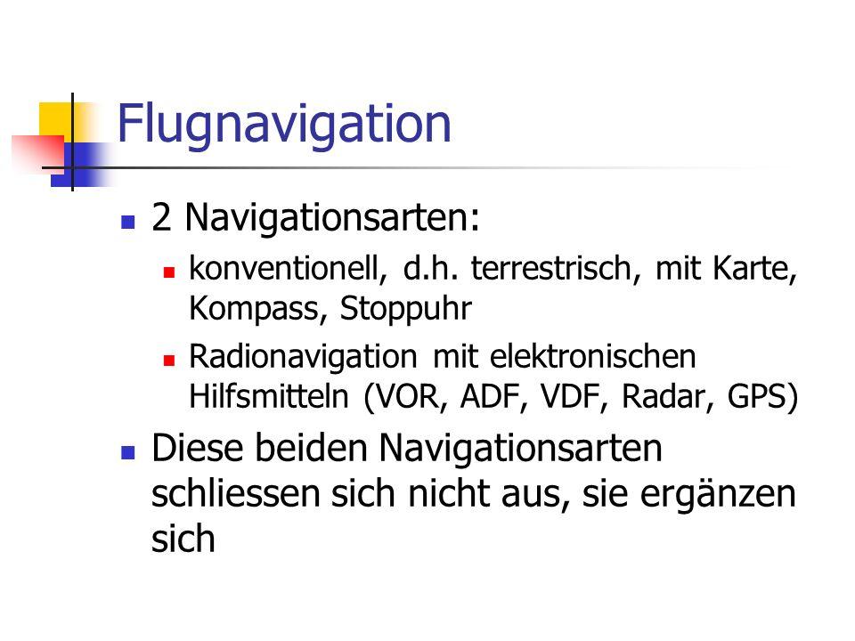 Flugnavigation 2 Navigationsarten: konventionell, d.h. terrestrisch, mit Karte, Kompass, Stoppuhr Radionavigation mit elektronischen Hilfsmitteln (VOR