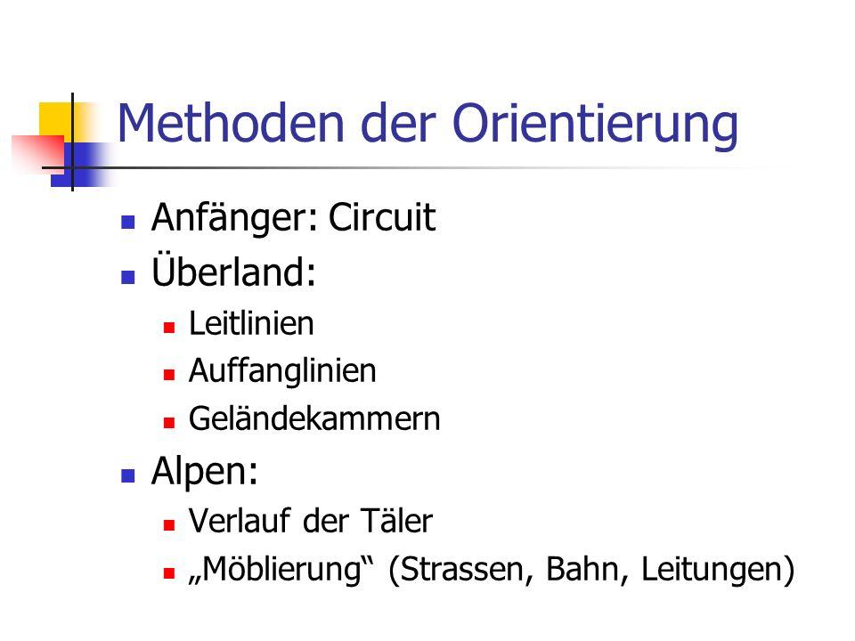 Methoden der Orientierung Anfänger: Circuit Überland: Leitlinien Auffanglinien Geländekammern Alpen: Verlauf der Täler Möblierung (Strassen, Bahn, Lei