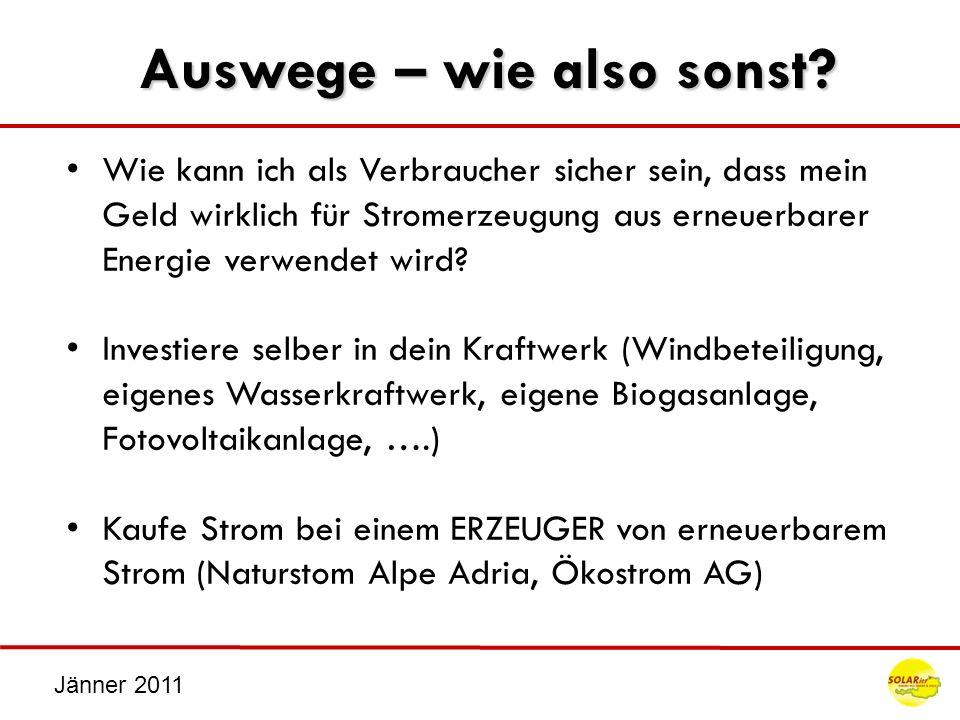 Jänner 2011 Auswege – wie also sonst? Wie kann ich als Verbraucher sicher sein, dass mein Geld wirklich für Stromerzeugung aus erneuerbarer Energie ve