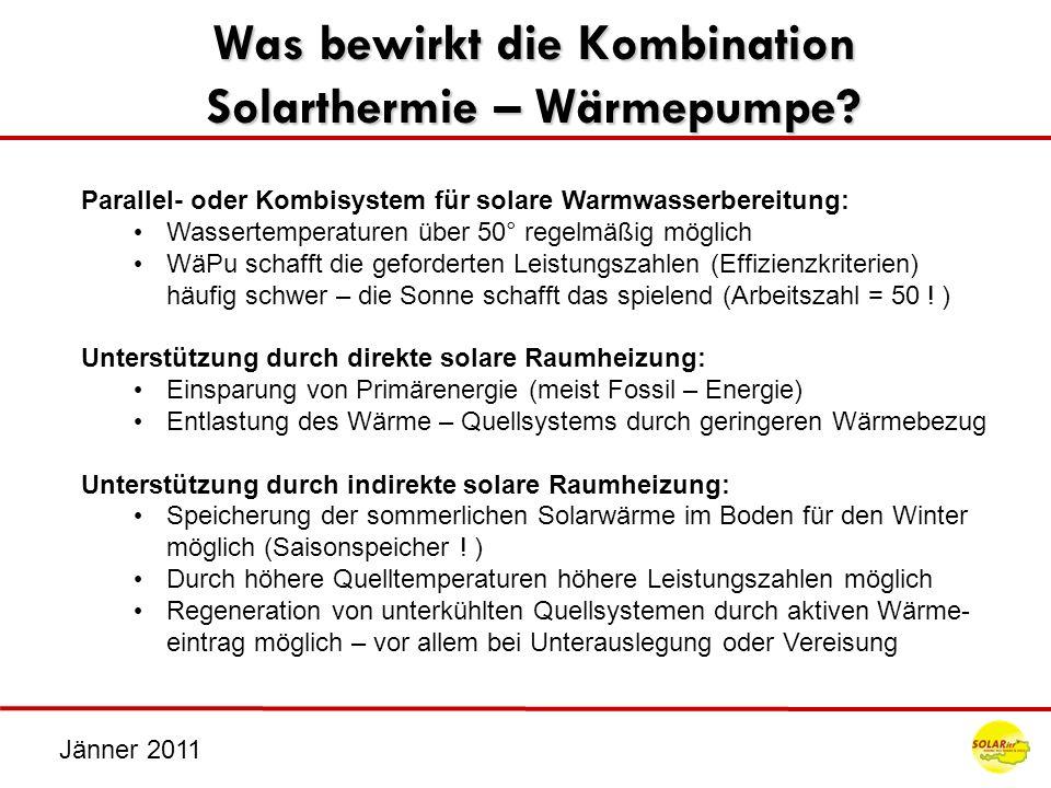 Jänner 2011 Was bewirkt die Kombination Solarthermie – Wärmepumpe? Parallel- oder Kombisystem für solare Warmwasserbereitung: Wassertemperaturen über