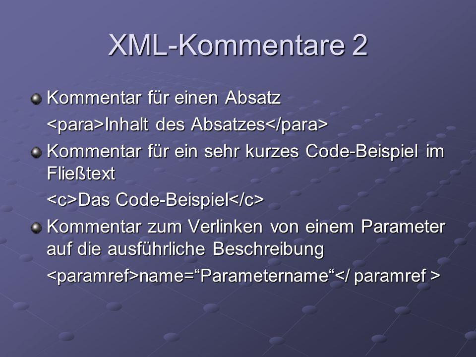 XML Kommentare 3 Verlinkung auf ein anderes Dokument für z.B.