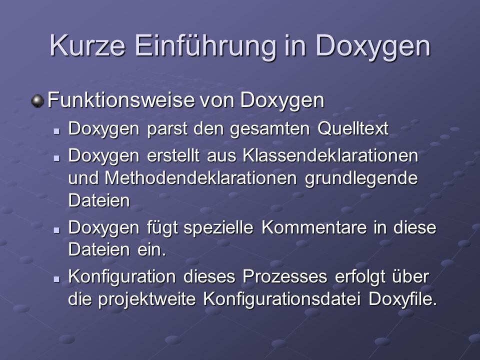 Aufbau der Doxygenkommentare Doxygen versteht unter Anderem folgende Kommentartypen: Doc++-Kommentare Doc++-Kommentare XML-Kommentare aus.Net XML-Kommentare aus.Net (siehe Codebeispiel)