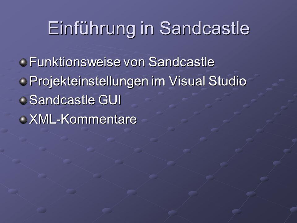Funktionsweise von Sandcastle Visual Studio erstellt auf Wunsch beim Compilieren XML-Kommentar-Dateien Sandcastle parst XML-Kommentar- Dateien Sandcastle erstellt daraus XML-Dateien Sandcastle erzeugt dann via XSLT neue Dateien, deren Format und Aussehen von den Settings abhängen