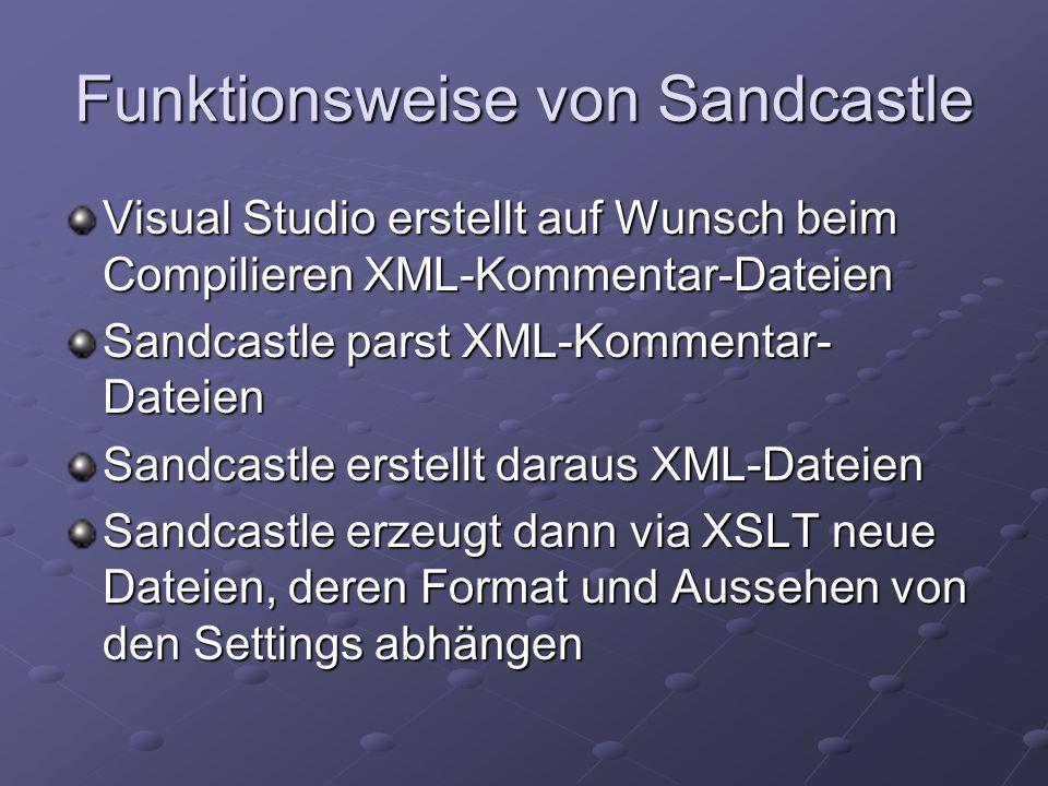 Konfiguration des Visual Studio Projektkonfiguration: XML-Kommentar- Datei erstellen XML-Kommentar- Datei erstellen