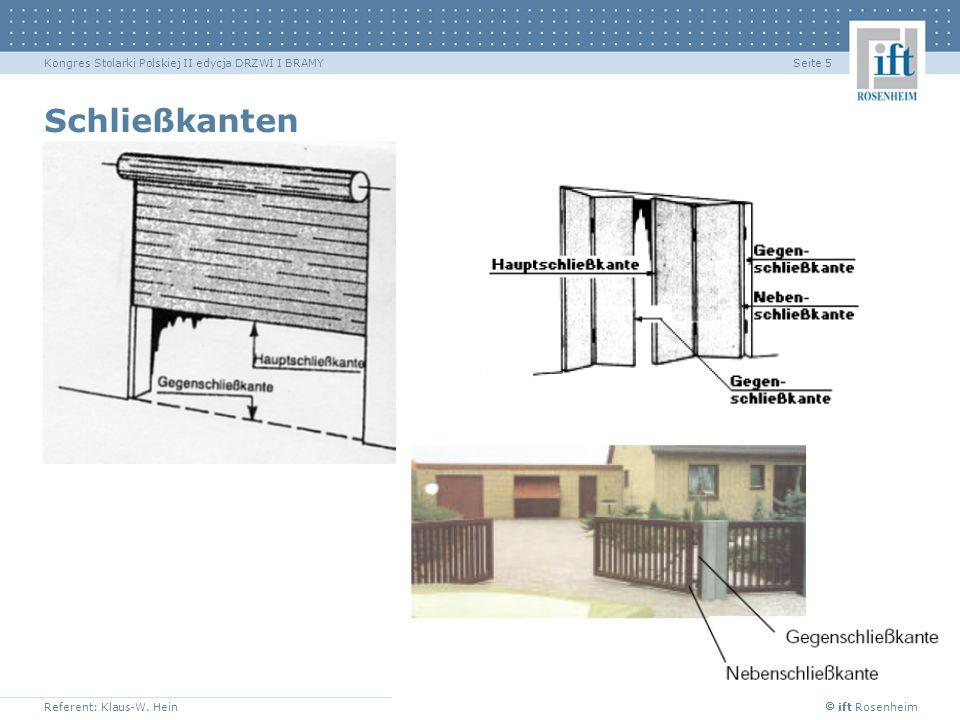 ift Rosenheim Referent: Klaus-W. Hein Seite 5Kongres Stolarki Polskiej II edycja DRZWI I BRAMY Schließkanten