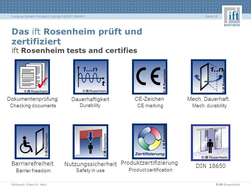 ift Rosenheim Referent: Klaus-W. Hein Seite 15Kongres Stolarki Polskiej II edycja DRZWI I BRAMY Das ift Rosenheim prüft und zertifiziert ift Rosenheim