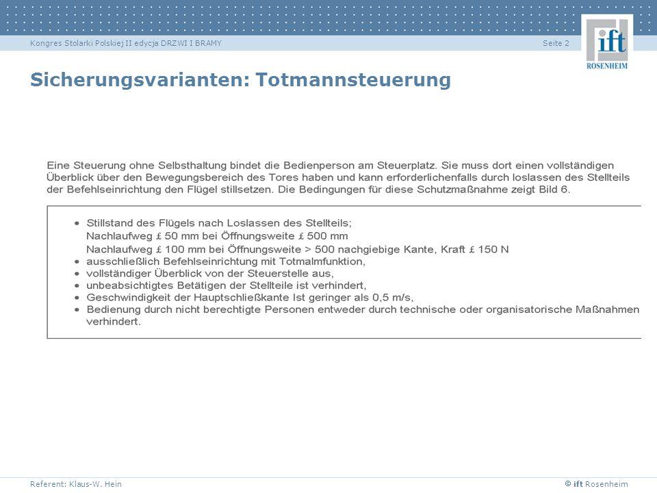ift Rosenheim Referent: Klaus-W. Hein Seite 2Kongres Stolarki Polskiej II edycja DRZWI I BRAMY Sicherungsvarianten: Totmannsteuerung