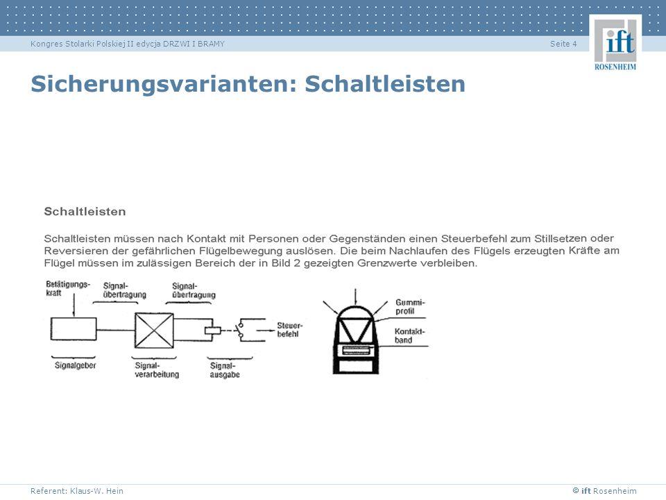 ift Rosenheim Referent: Klaus-W. Hein Seite 4Kongres Stolarki Polskiej II edycja DRZWI I BRAMY Sicherungsvarianten: Schaltleisten