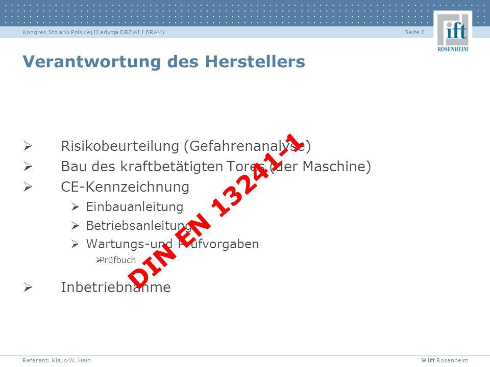 ift Rosenheim Referent: Klaus-W. Hein Seite 6Kongres Stolarki Polskiej II edycja DRZWI I BRAMY Verantwortung des Herstellers Risikobeurteilung (Gefahr