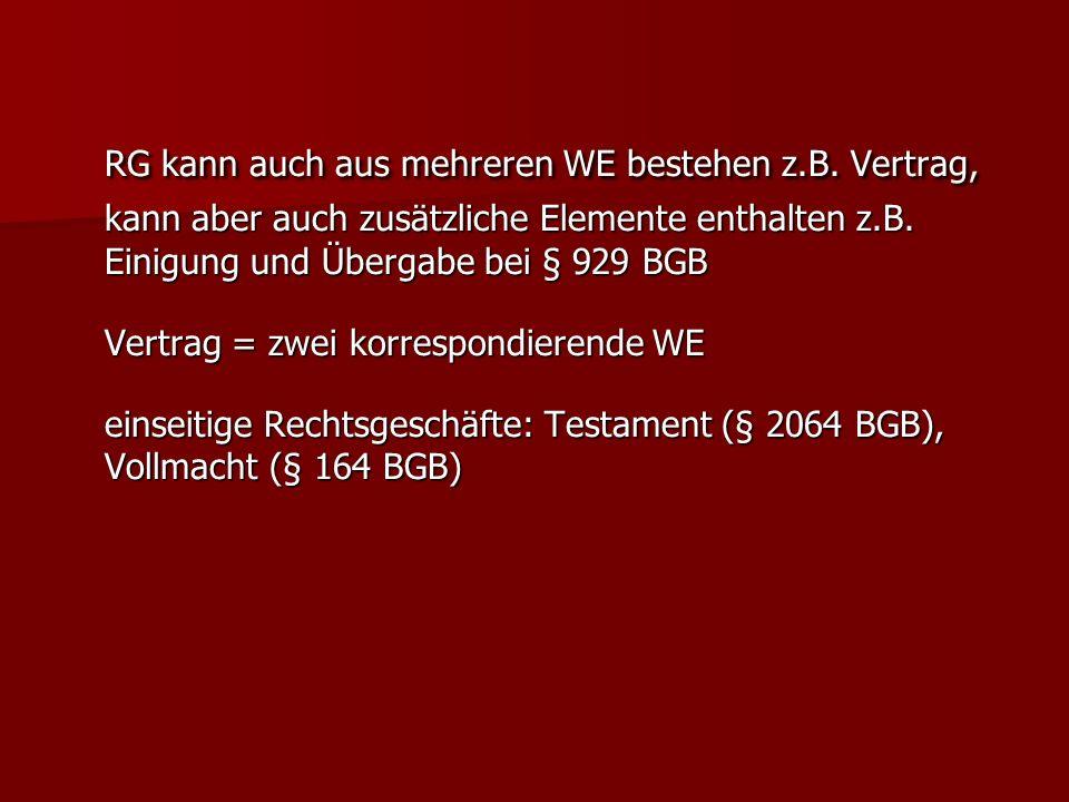 RG kann auch aus mehreren WE bestehen z.B. Vertrag, kann aber auch zusätzliche Elemente enthalten z.B. Einigung und Übergabe bei § 929 BGB Vertrag = z
