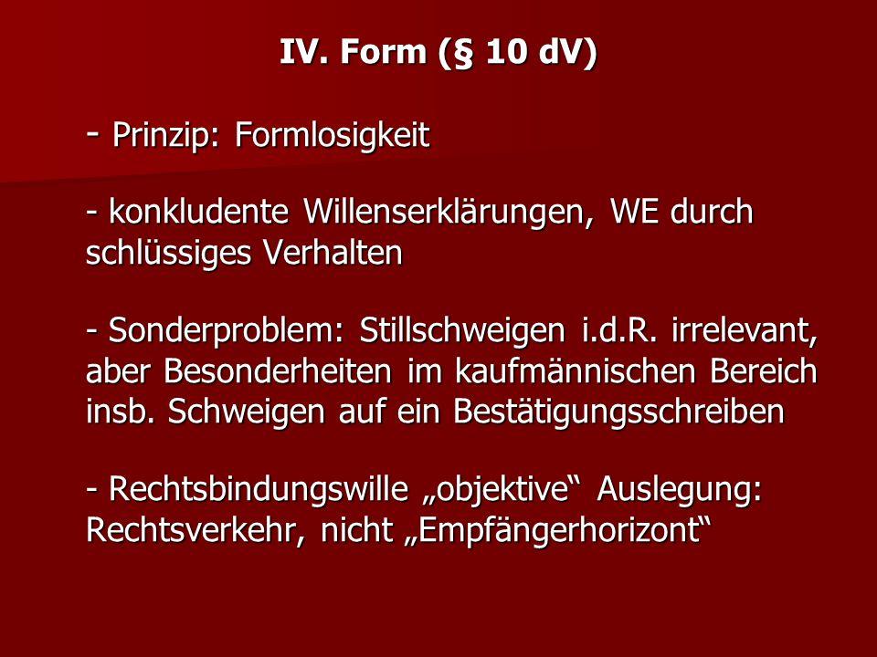 IV. Form (§ 10 dV) - Prinzip: Formlosigkeit - konkludente Willenserklärungen, WE durch schlüssiges Verhalten - Sonderproblem: Stillschweigen i.d.R. ir