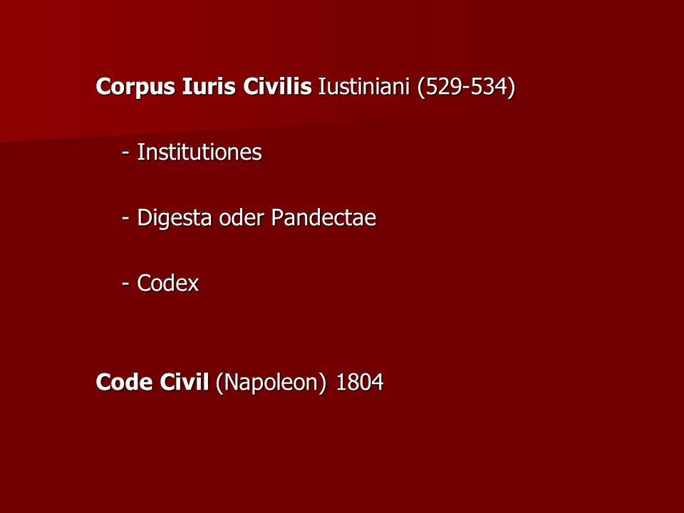 Corpus Iuris Civilis Iustiniani (529-534) - Institutiones - Digesta oder Pandectae - Codex Code Civil (Napoleon) 1804