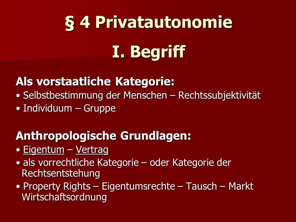 § 4 Privatautonomie I. Begriff Als vorstaatliche Kategorie: Selbstbestimmung der Menschen – Rechtssubjektivität Selbstbestimmung der Menschen – Rechts
