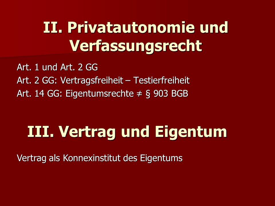 II. Privatautonomie und Verfassungsrecht Art. 1 und Art. 2 GG Art. 2 GG: Vertragsfreiheit – Testierfreiheit Art. 14 GG: Eigentumsrechte § 903 BGB III.