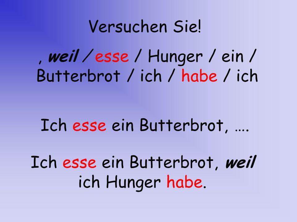 Versuchen Sie! Ich esse ein Butterbrot, weil ich Hunger habe., weil / esse / Hunger / ein / Butterbrot / ich / habe / ich Ich esse ein Butterbrot, ….