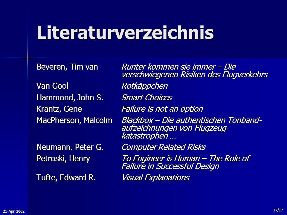 21-Apr-2002 17/17 Literaturverzeichnis Beveren, Tim vanRunter kommen sie immer – Die verschwiegenen Risiken des Flugverkehrs Van GoolRotkäppchen Hammo