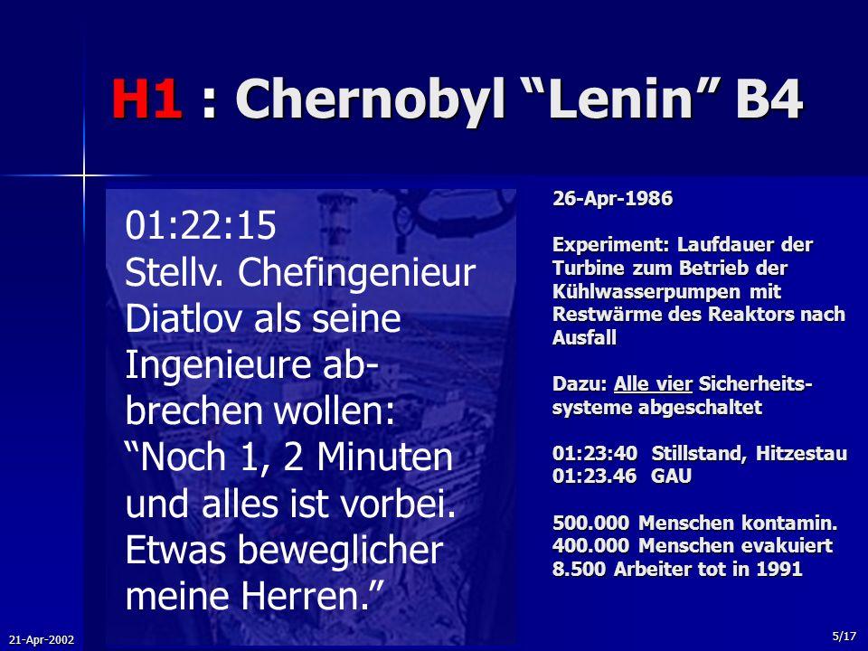 21-Apr-2002 5/17 H1 : Chernobyl Lenin B4 26-Apr-1986 Experiment: Laufdauer der Turbine zum Betrieb der Kühlwasserpumpen mit Restwärme des Reaktors nac