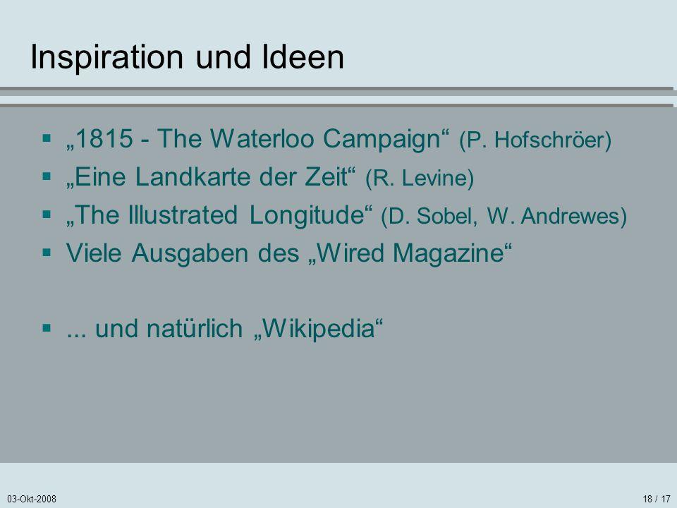 03-Okt-200818 / 17 Inspiration und Ideen 1815 - The Waterloo Campaign (P. Hofschröer) Eine Landkarte der Zeit (R. Levine) The Illustrated Longitude (D