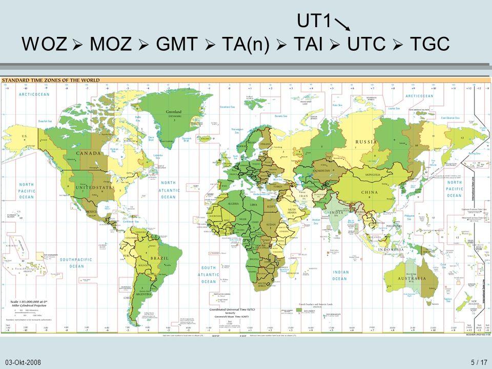 03-Okt-20085 / 17 WOZ MOZ GMT TA(n) TAI UTC TGC UT1