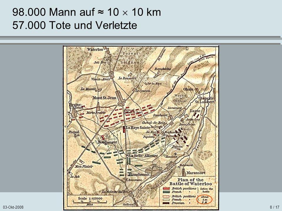 03-Okt-20088 / 17 98.000 Mann auf 10 10 km 57.000 Tote und Verletzte
