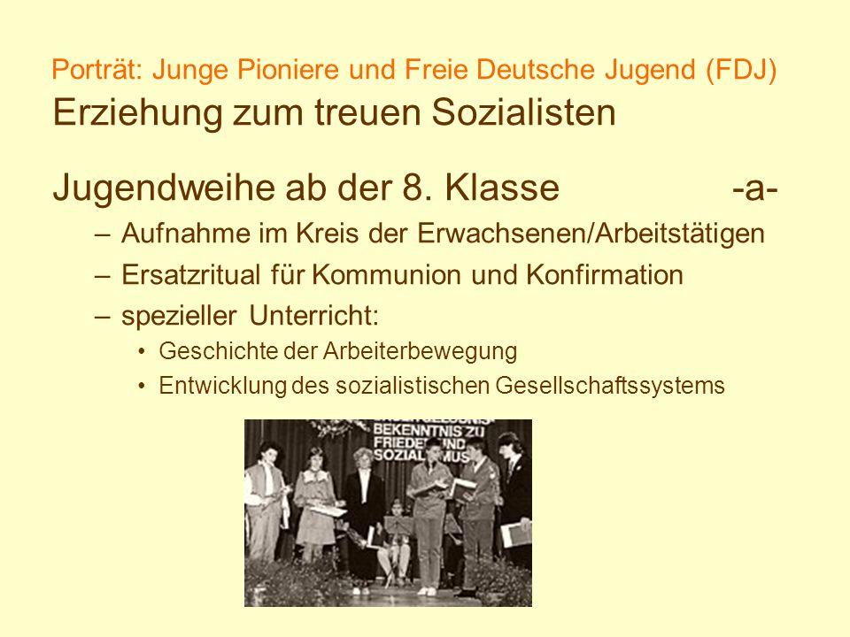 Porträt: Junge Pioniere und Freie Deutsche Jugend (FDJ) Erziehung zum treuen Sozialisten Jugendweihe ab der 8. Klasse-a- –Aufnahme im Kreis der Erwach