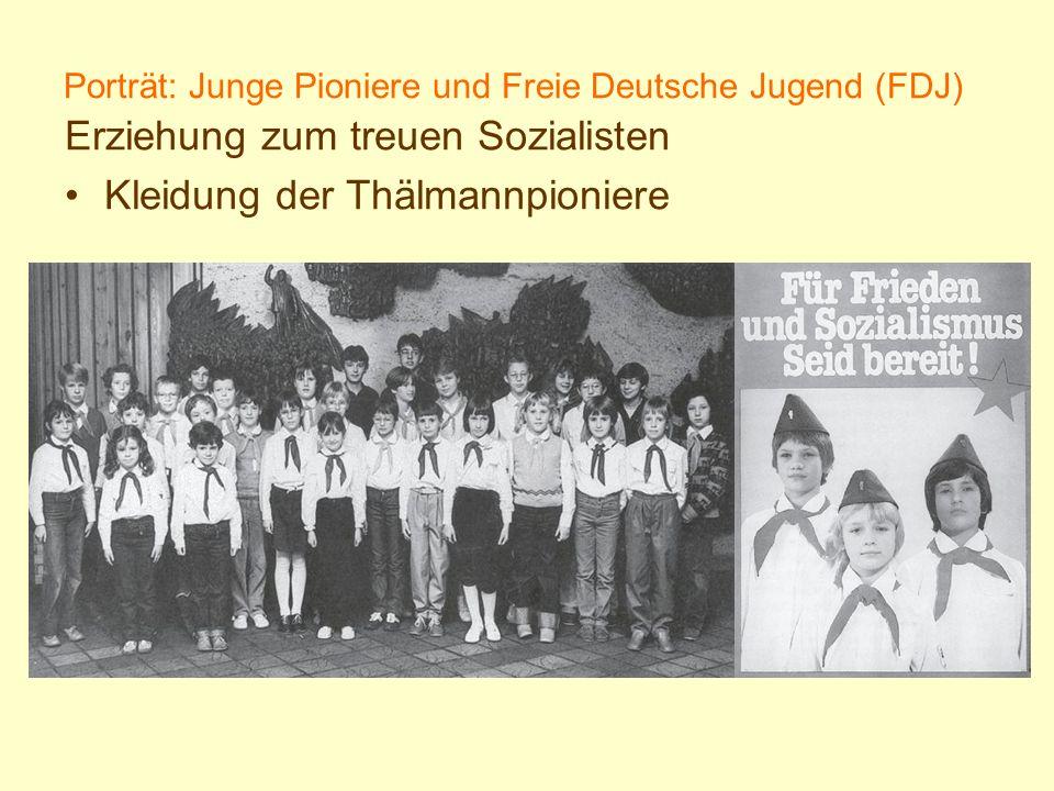 Porträt: Junge Pioniere und Freie Deutsche Jugend (FDJ) Erziehung zum treuen Sozialisten Kleidung der Thälmannpioniere