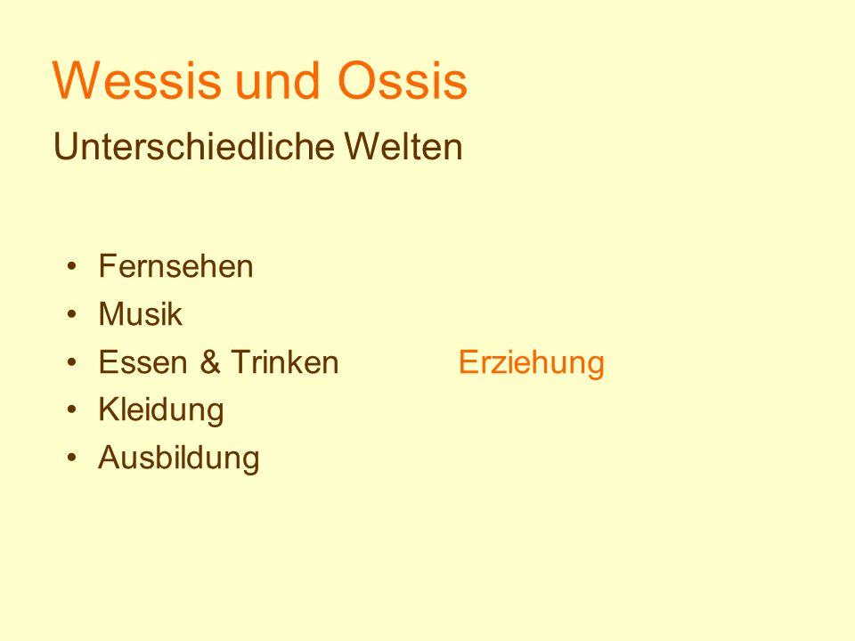 Wessis und Ossis Erziehung Fernsehen Musik Essen & Trinken Kleidung Ausbildung Unterschiedliche Welten