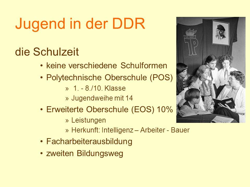 Jugend in der DDR die Schulzeit keine verschiedene Schulformen Polytechnische Oberschule (POS) » 1. - 8./10. Klasse »Jugendweihe mit 14 Erweiterte Obe