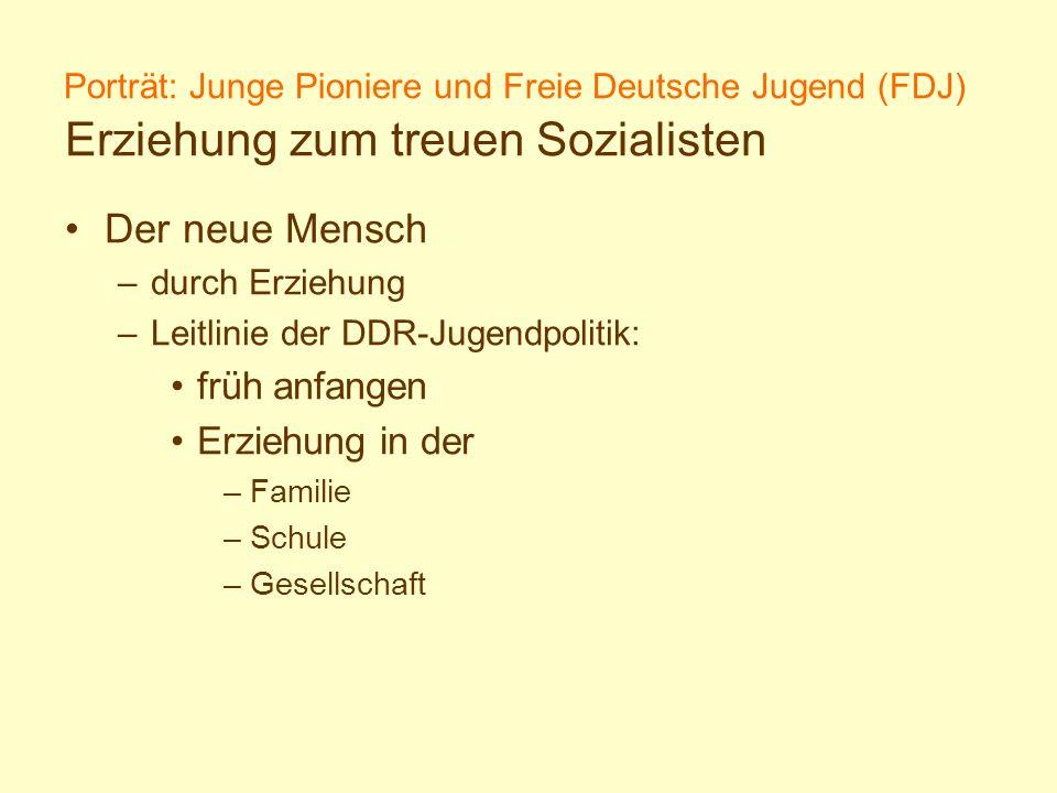 Porträt: Junge Pioniere und Freie Deutsche Jugend (FDJ) Erziehung zum treuen Sozialisten Der neue Mensch –durch Erziehung –Leitlinie der DDR-Jugendpol