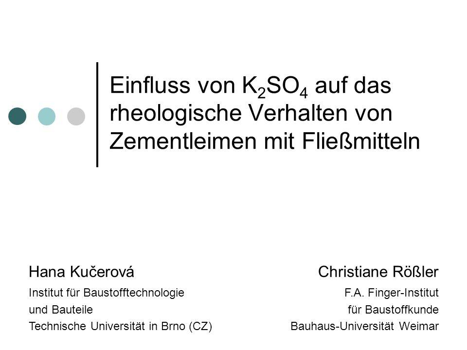 Einfluss von K 2 SO 4 auf das rheologische Verhalten von Zementleimen mit Fließmitteln Hana KučerováChristiane Rößler Institut für Baustofftechnologie und Bauteile Technische Universität in Brno (CZ) F.A.
